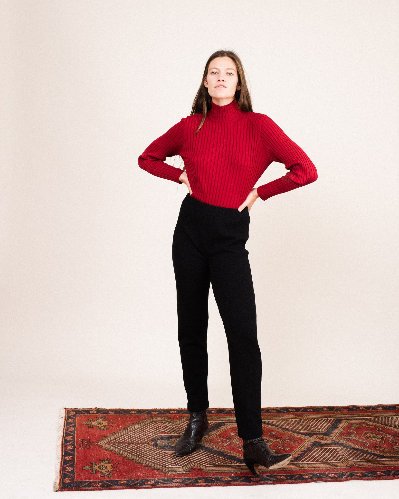 Vintage Berry Red Rib Knit Silk Turtleneck Sweater / S/M