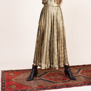 Vintage Gold Metallic Pleated Maxi Skirt / XXS/XS
