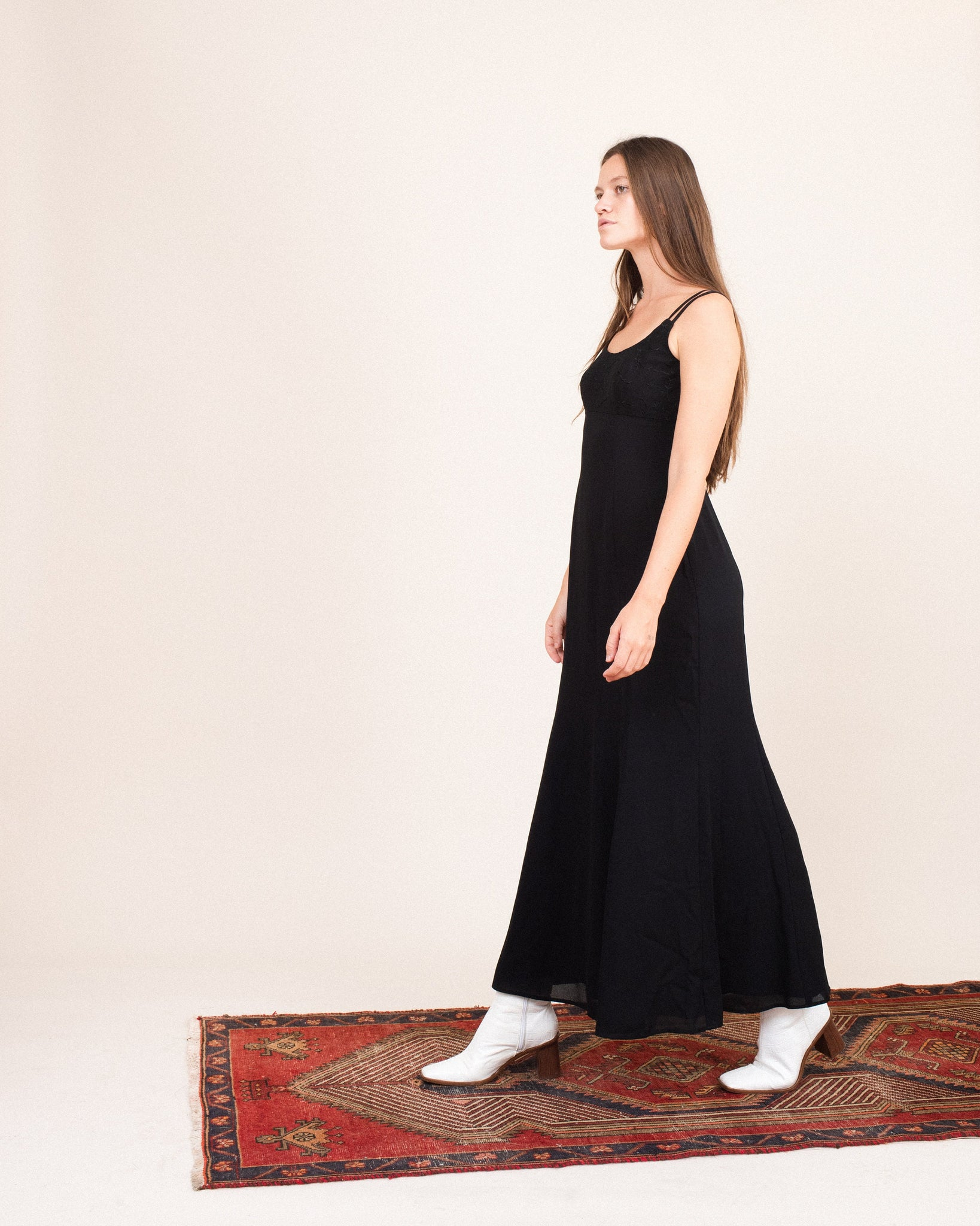Vintage Black Embroidered Maxi Slip Dress  / S