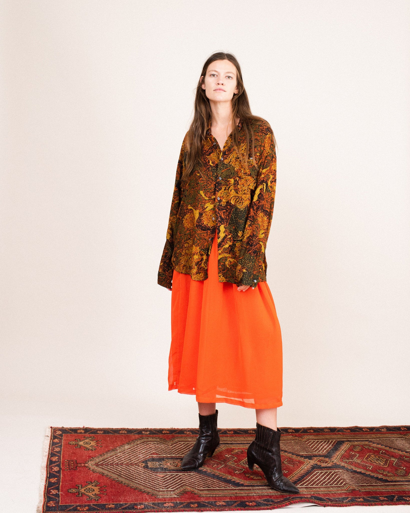 Vintage Oversized Abstract Earth Tone Button-Up  / S/M
