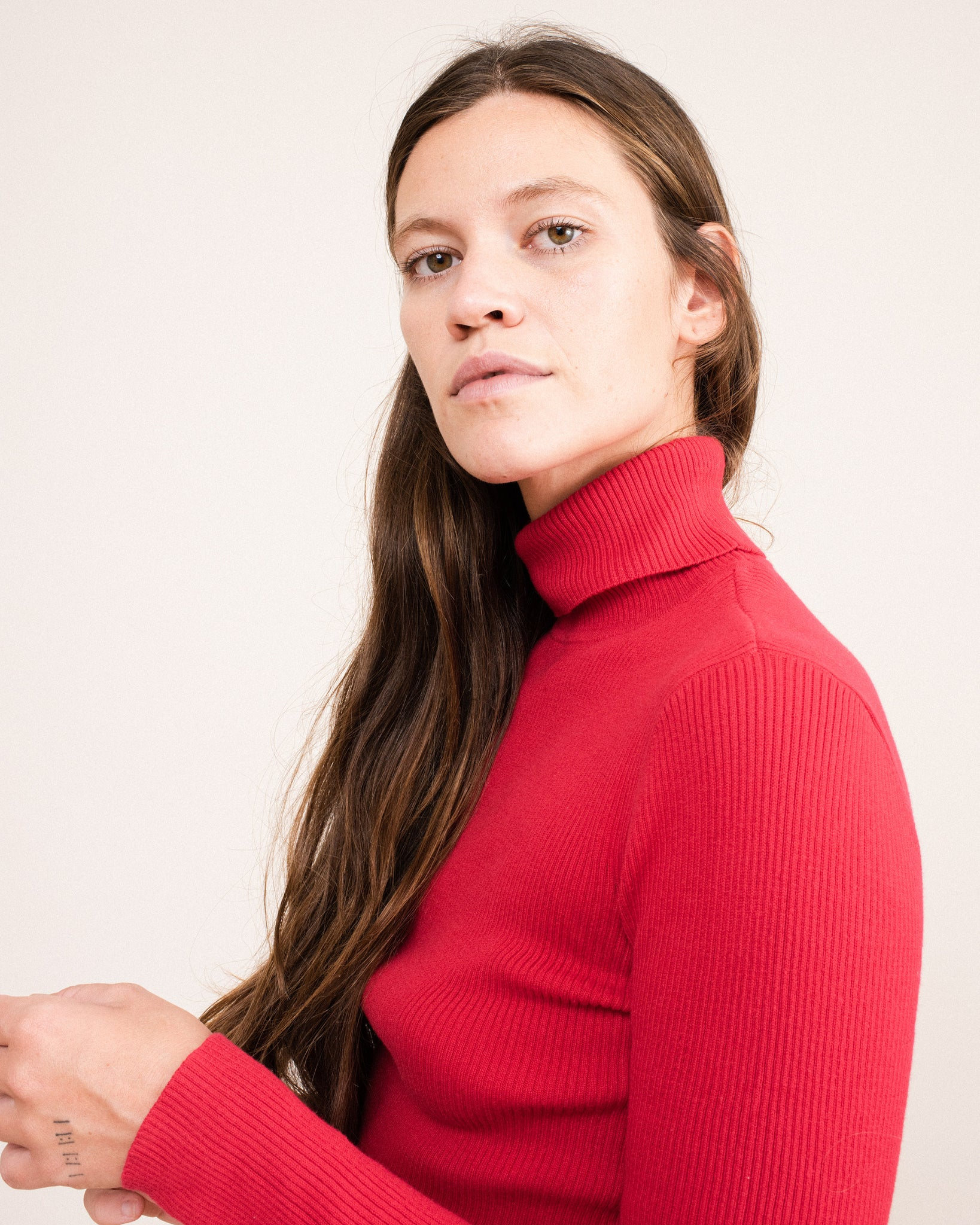 Vintage Red Rib Knit Turtleneck Sweater / S/M