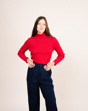 Vintage Cherry Red Rib Knit Turtleneck Sweater / S/M