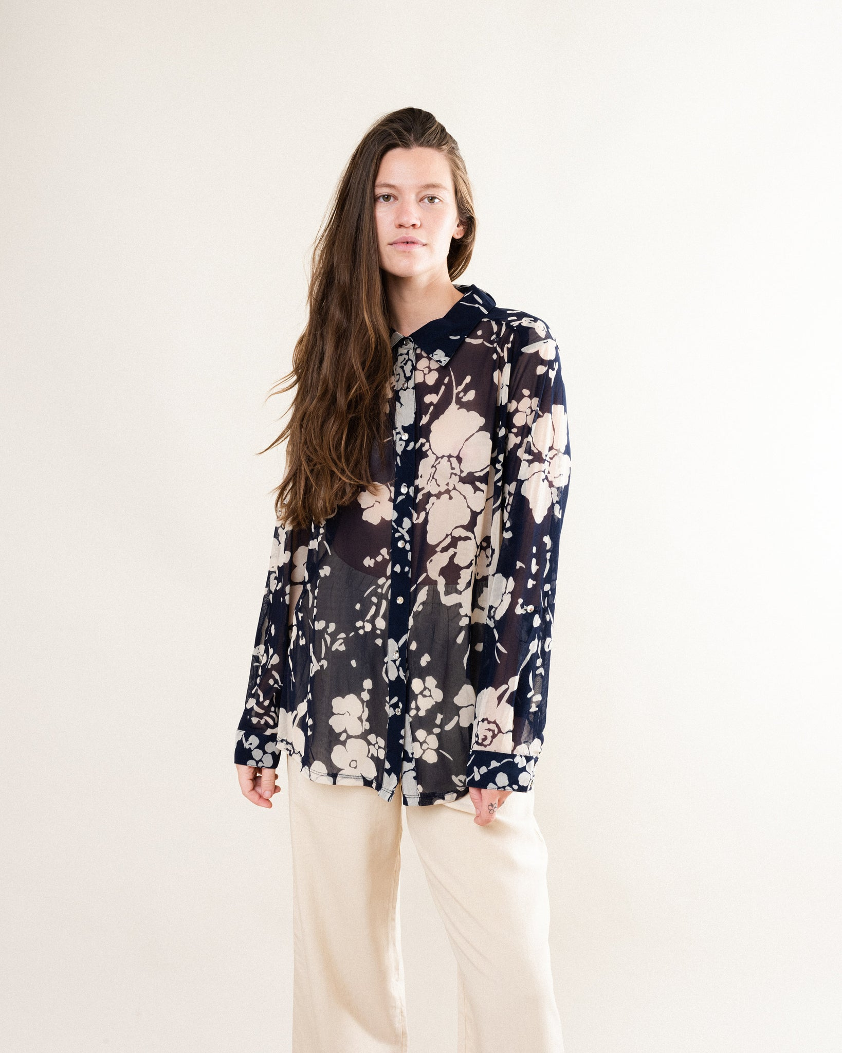 Vintage Navy + Cream Floral Sheer Blouse / S/M