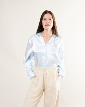 Vintage Baby Blue Pure Silk Satin Blouse / S/M