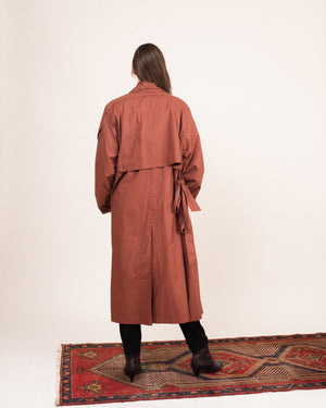 Vintage Oversized Rust Trench Coat / S/M