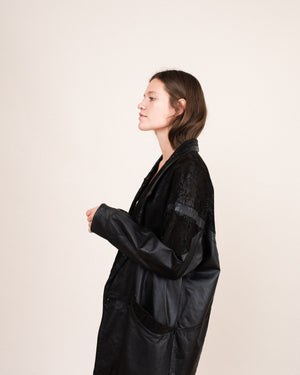 Vintage Oversized Black Leather Chore Jacket / S/M