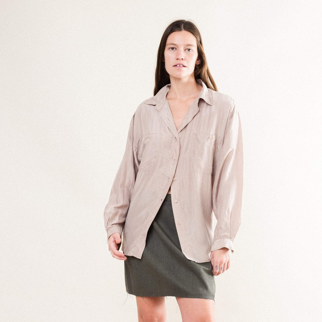 Vintage Taupe Silk Button Up (S/M)