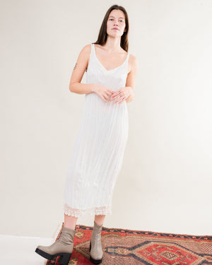 Vintage White Crinkle Slip Dress / S