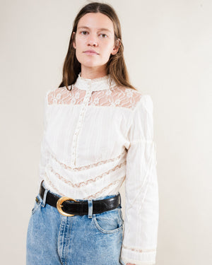 Vintage 70s Cotton Lace Blouse / S/M