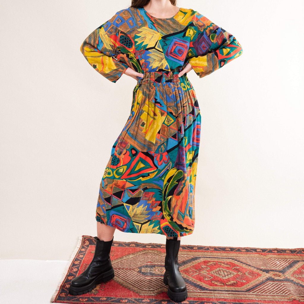 Vintage Abstract Colorburst Two Piece Set (S-M)