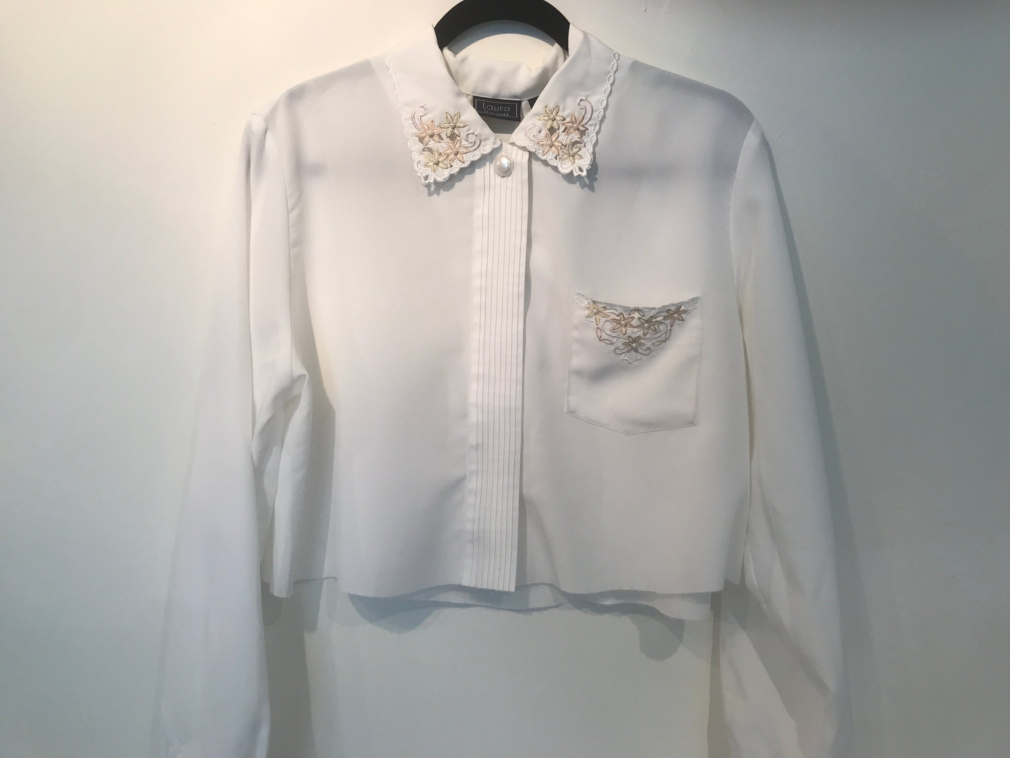 Vintage White Lace Cropped Blouse / S