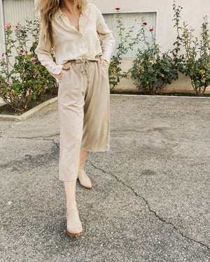 Vintage Oatmeal Cropped Crinkle Pants / S/M