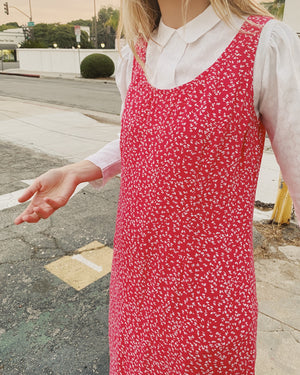 Vintage Strawberry Floral Sleeveless Dress / S
