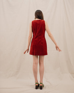 Vintage Dark Red Faux Suede Dress / S/M - Closed Caption