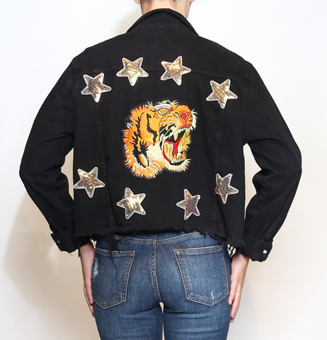 Tiger Embroidered Denim Jacket