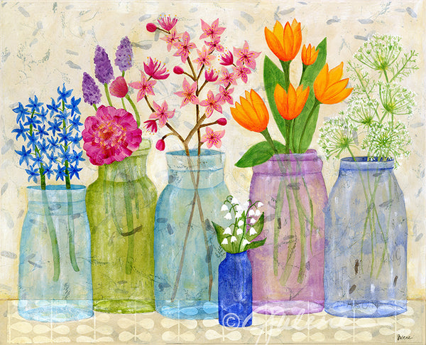 Old canning jars filled with spring flowers julene ewert the final art spring flowers in old jars mightylinksfo