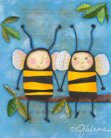 Bee friends painting by Julene Ewert