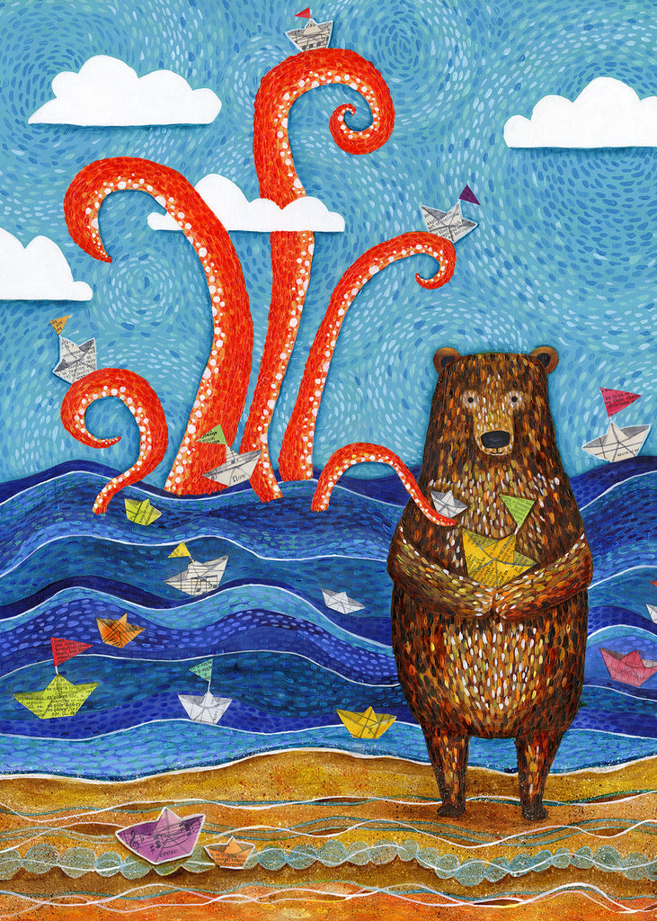 Paper Boat Bear & Giant Squid greeting card