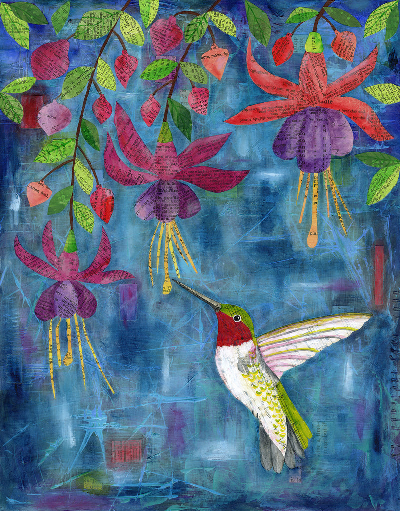 Hummingbird and Fuchsia - Print