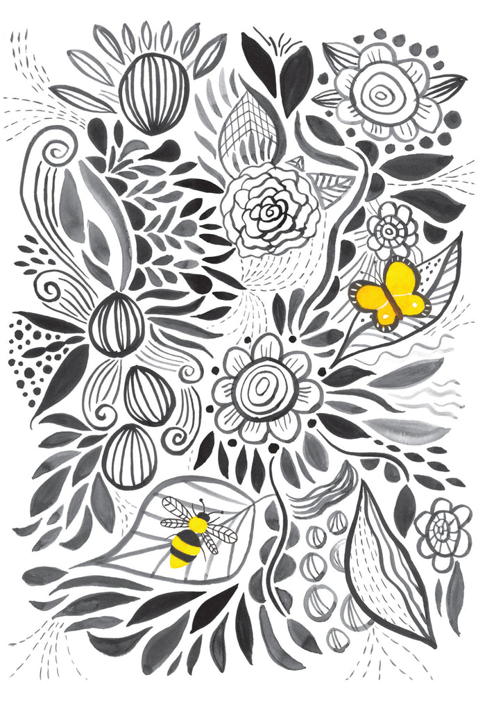 Black and white flowers - postcard