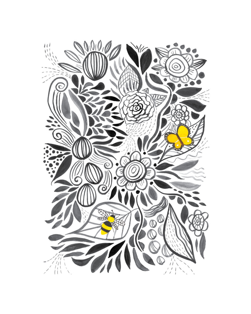 black and white flowers with yellow sulphur butterfly print