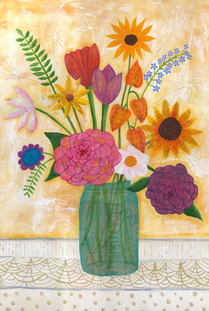 Blue Canning Jar of Flowers - postcard