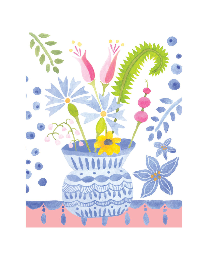 blue flower vase on pink table print