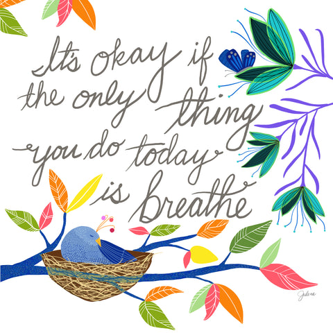 It's okay to breathe greeting card