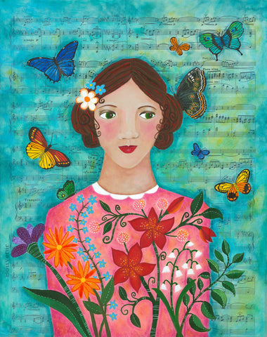 butterflies and flowers girl - print