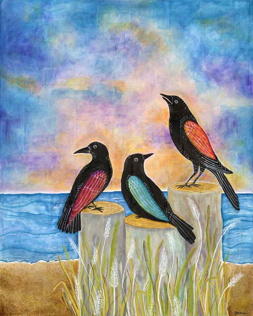 Three Crows at Sunset - Print