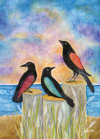 Sunset Crows greeting card