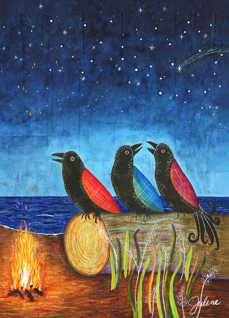 Firelight Crows greeting card