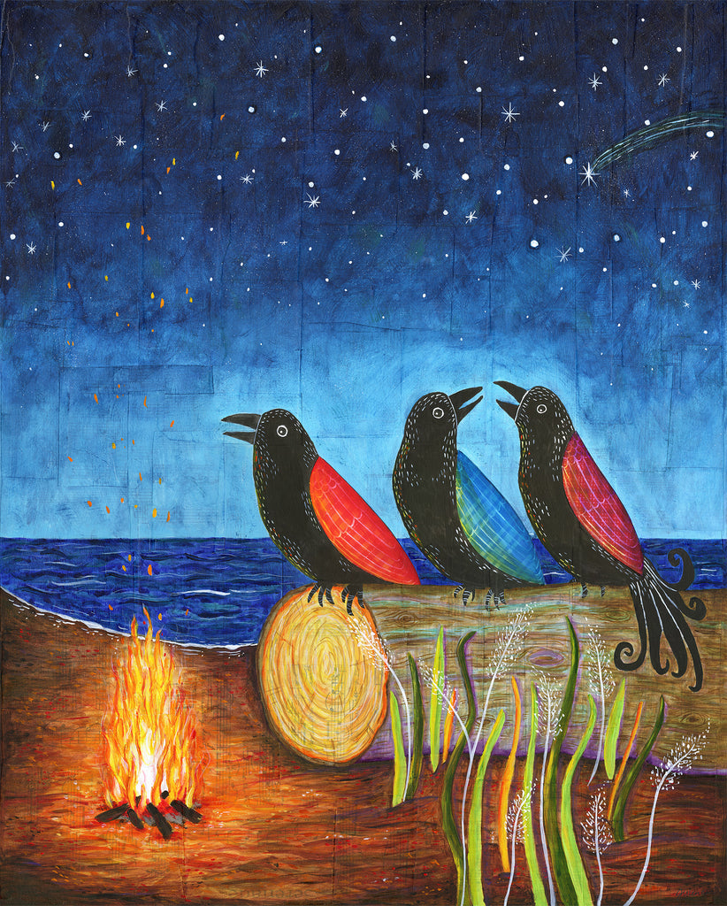 Three Crows starry night campfire - Print