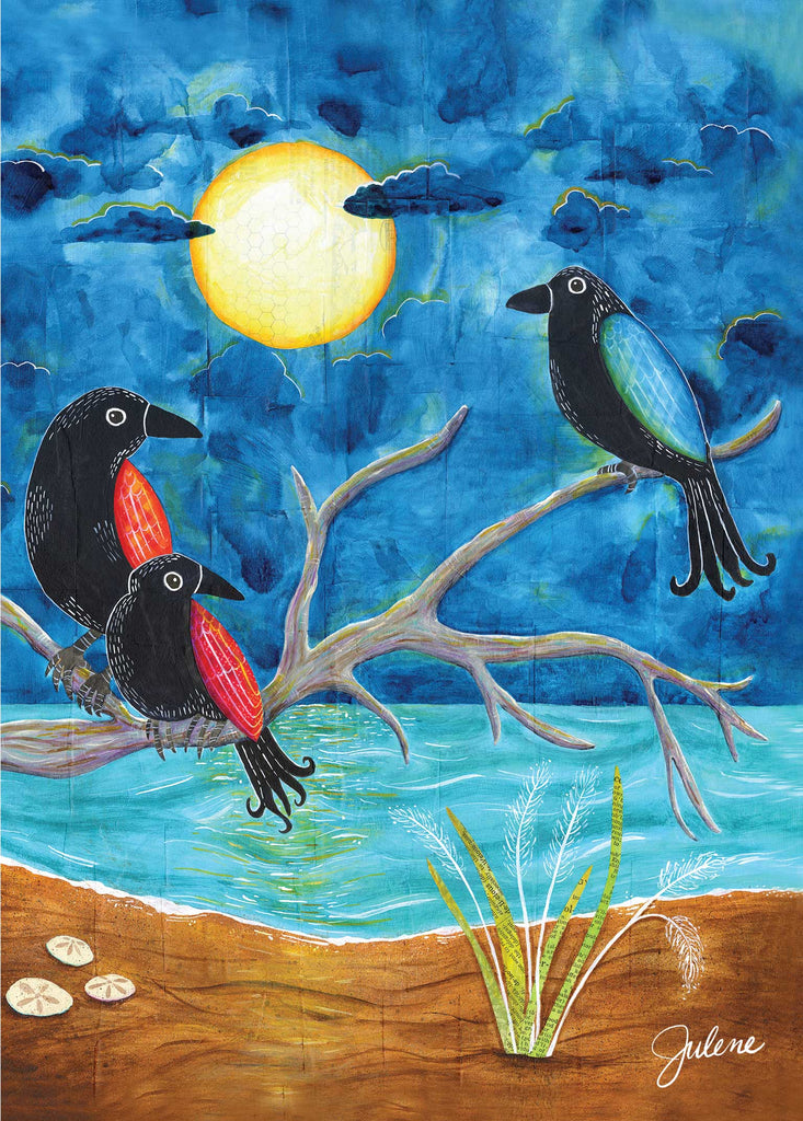 Full Moon Crows greeting card