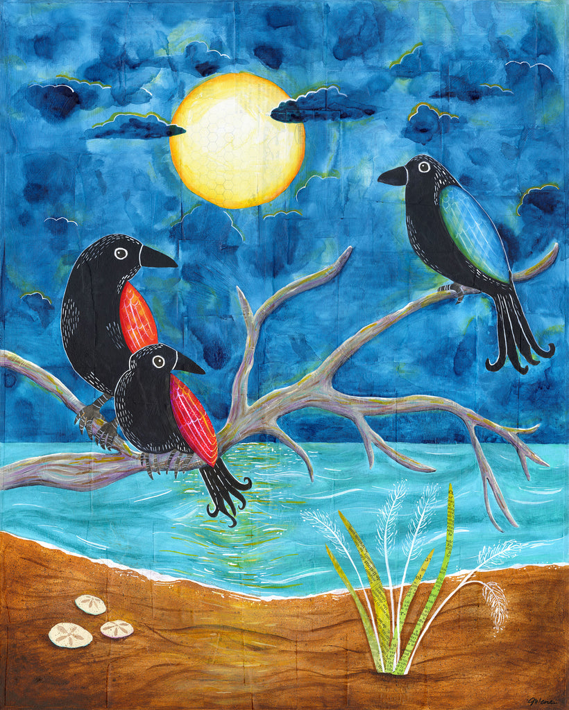 Three Crows Full Moon - Print