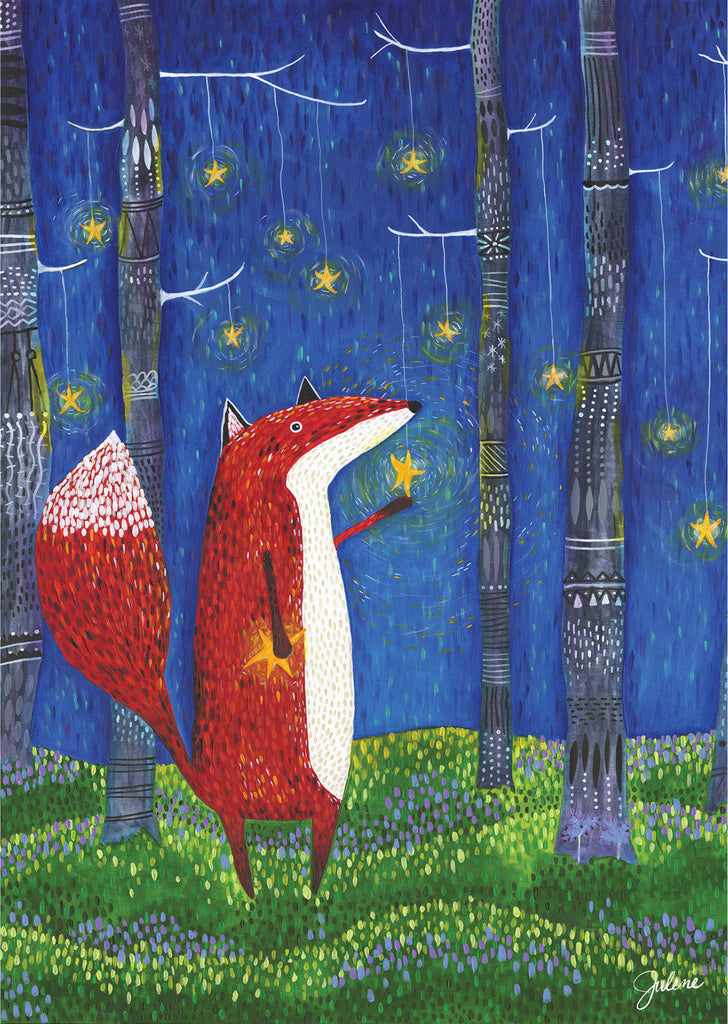 Fox Star Forest greeting card