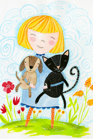 Furry dog & cat friends - postcard