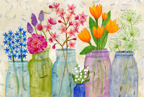 Spring Flowers in Mason Jars - postcard