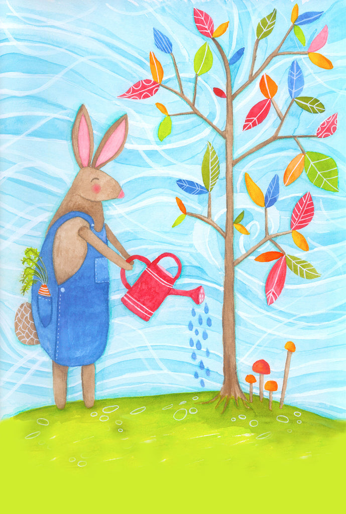 Bunny growing  - postcard