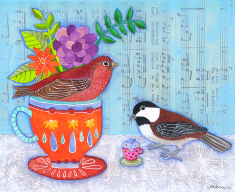 Finch & Chickadee Teacup - Print