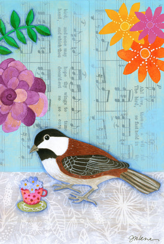 Chickadee and tea - postcard