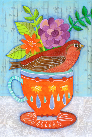 Finch and tea - postcard