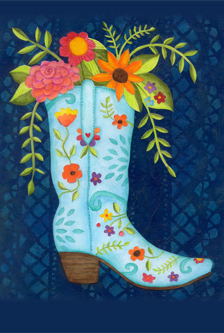 Cowgirl boot and flowers - postcard