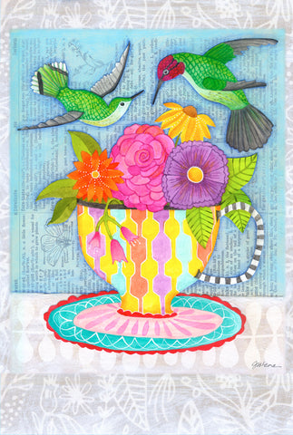 Hummingbirds and tea - postcard