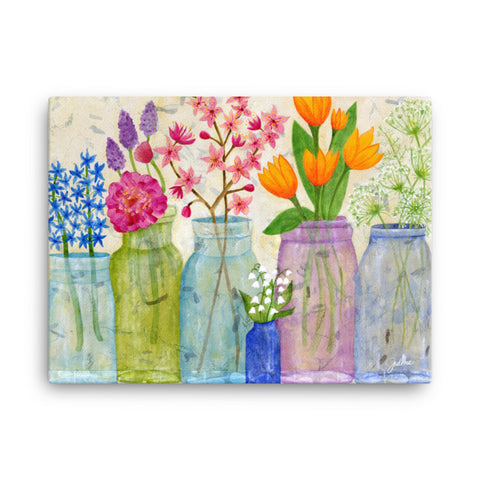 Spring Flowers Printed Canvas