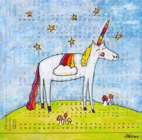 rainbow unicorn - print