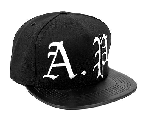 A.P. Logo // Cream on Black // Leather and Organic Duck Cloth Hat
