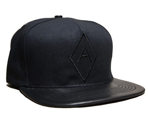 Diamond A Logo // Black on Black // Leather and Duck Cloth Hat
