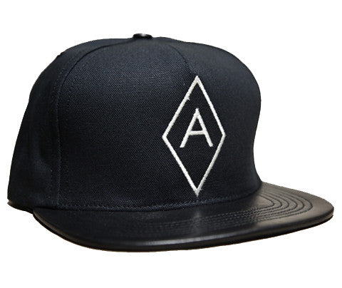 Diamond A Logo // Cream on Black // Leather and Duck Cloth Hat