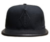 Lorraine Diamond Logo // Black on Black // Leather and Duck Cloth Hat